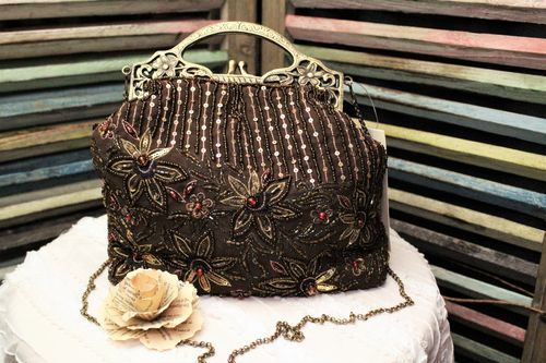 Boho Flower Chocolate Brown Hand Beaded and Embroidered Glam Purse Evening Bag (Artisan Designer)