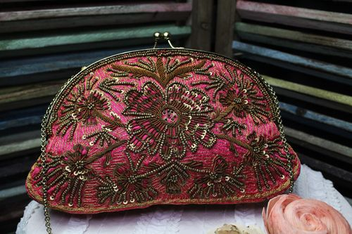 Coral with Gold Fabric Glam Bag Purse with Very Ornate Hand Embroidery and Beading (Artisan Design)