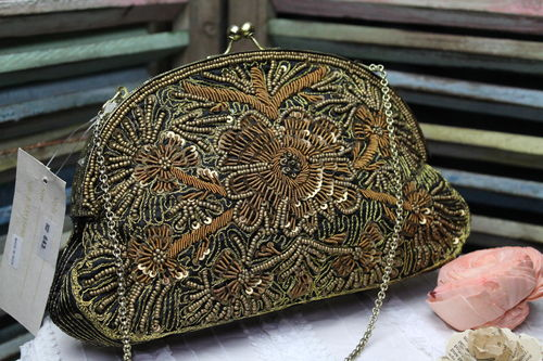 Black with Gold  Fabric Glam Bag Purse with Very Ornate Hand Embroidery and Beading (Artisan Design)