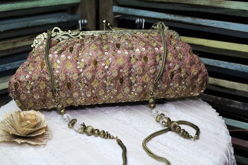 Rose with Gold Fabric Victorian Glam Bag Purse with Hand Embroidery and Beading (Artisan Design)