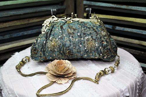 Blue with Gold Fabric Victorian Glam Bag Purse with Hand Embroidery and Beading (Artisan Design)