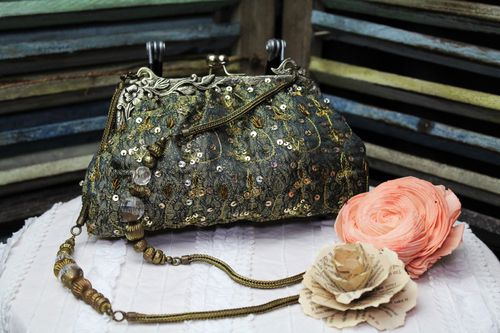 Blue with Olive Victorian Glam Bag with Hand Embroidery and Beading (Artisan Designer)