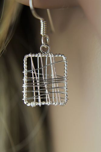 Sterling Silver Wire Wrap Earrings with Modern Artistic Geometric Design