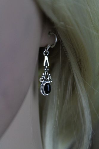 Sterling Silver Earrings with Synthetic Black Onyx Elegant Bali Style