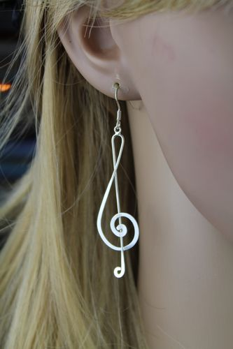 ".925 Sterling Silver Treble Clef Earring Music Lovers Musical Statement 3"" Long"