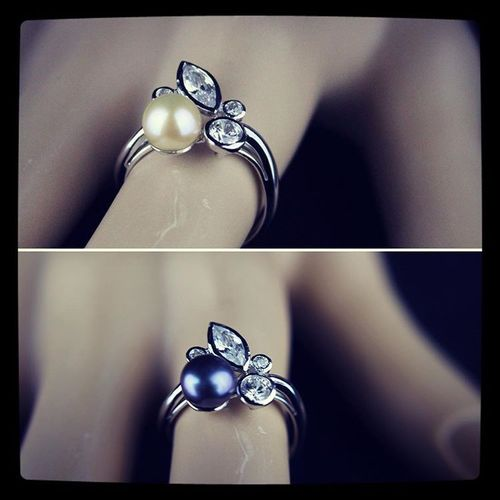 Sterling Silver Pearl Ring with Cubic Zirconia Peach or Dyed Black Freshwater Pearls