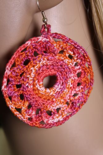 Pink and Orange Cotton Crochet Doily Wreath Earrings (Handmade)