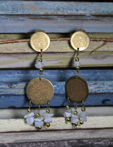 Moonstone and Brass Disc Boho Clip On Dangle Earrings (Handmade)