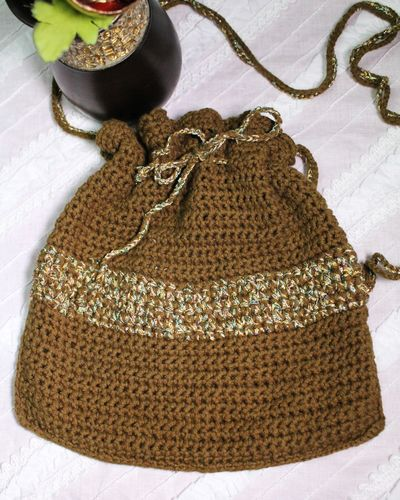 Adorable Cotton Crochet Boho Pouch Bag Brown with Shiny Yarn Trim and Drawstring (Handmade)