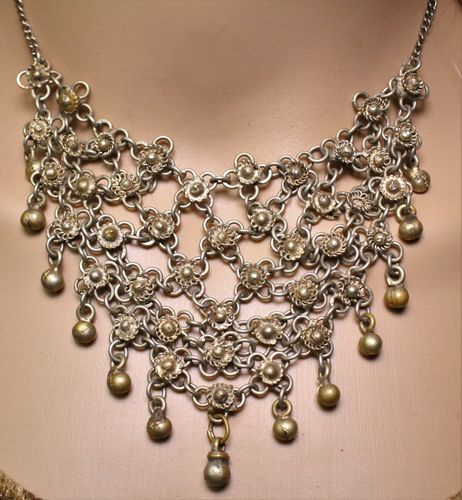 Antique Victorian Style Gold Boho Moroccan Cluster Bib Necklace (Handmade)