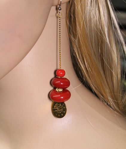 "Long Red Moroccan Coin Chain Dangle  Earrings 4 3/4"" Long (Handmade)"
