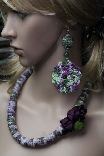 Lilac & Green Crochet  and Satin Necklace with Jade and Crochet Earrings