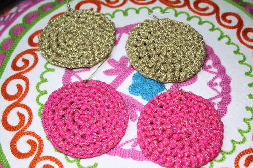 Large Round Crochet Earrings with Shiny Metallic Cotton Yarn   (Pink or Beige) (Handmade)