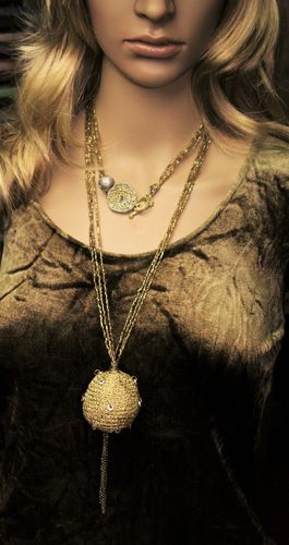 Long and Elegant  Metallic Gold Crochet Balls and Beaded Ceramic Pearl, Necklace (Handmade)
