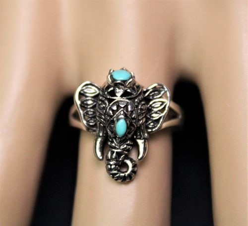 Sterling Silver Ganesha Elephant Ring With Filigree and Synthetic Turquoise Ring