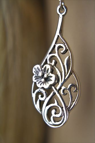 Sterling Silver Floral Earrings Long and Elegant Vine Leaf and Flower Filigree
