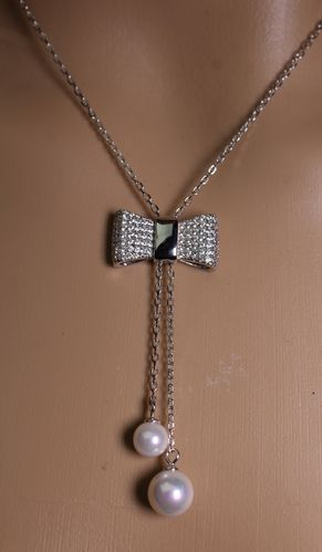 Sterling Silver Bow Lariat Necklace with CZ Crystals and Fresh Water Pearls