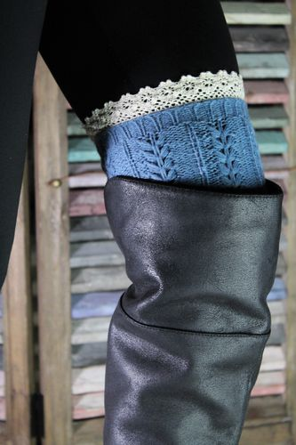 Cableknit Leg Warmers Boot Toppers Blue with Ivory Lace-Large
