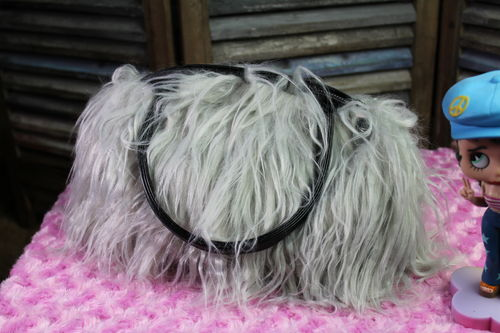 Fur Handbag with Grey Shaggy Faux Fur Trendy Fashion Purse