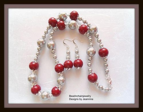 Red Mountain Jade and Silver Pearl Necklace and Earring Set (Handmade)