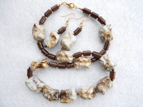 Brown White and Grey Acrylic Chunky Nugget Necklace Set (Handmade)