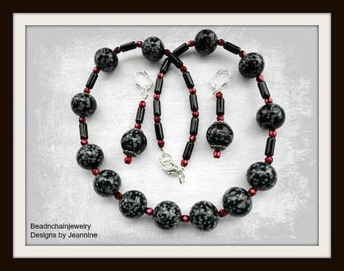Grey Black Snowflake Obsidian Beaded Necklace and Earring Set (Handmade)