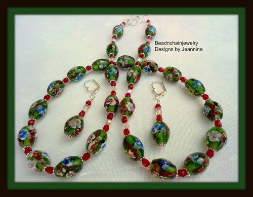 Ruby Red Floral Lampwork Glass Bead Necklace and Earrings Set (Handmade)