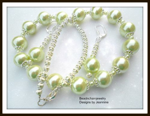Elegant Baby Lima Pearls with Silver Necklace and Earrings Set (Handmade)