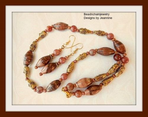 Antiqued Carved Teardrop Winter Jasper Necklace and Earrings Set (Handmade)