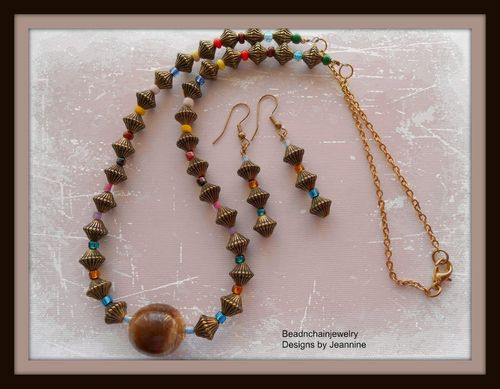 Whimsical Multicolored Necklace and Earrings Set with Antiqued Gold Bicones (Handmade)