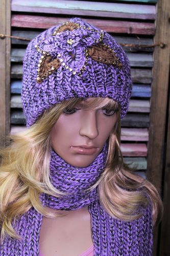 Crochet Hat and Scarf Set Flower Design Shiny Metallic Yarn and Rhinestones Six Colors