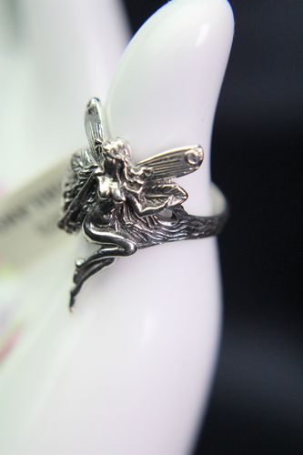 Sterling Silver Fairy Ring Lovely Highly Detailed Pixie Elf on Tree Branch