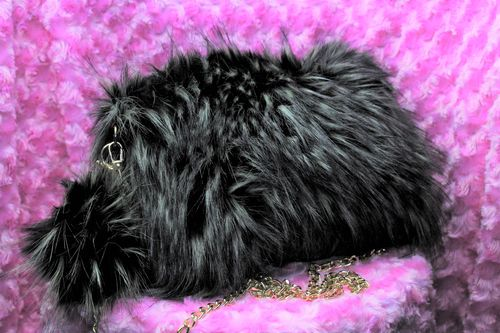 Fashion Fur Handbag with Pom Pom Keychain Black with Silver Tips Faux Fur Purse
