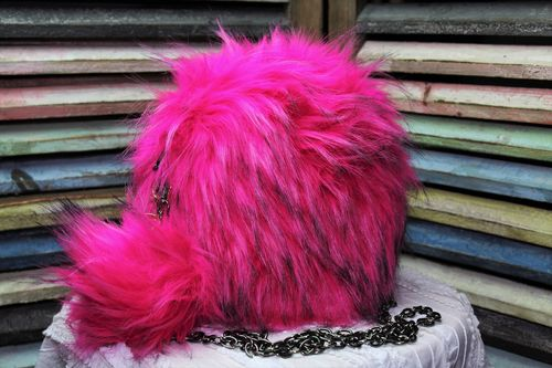 Fashion Fur Handbag with Pom Pom Keychain Vegan Fur Round Purse (Ass't Colors)