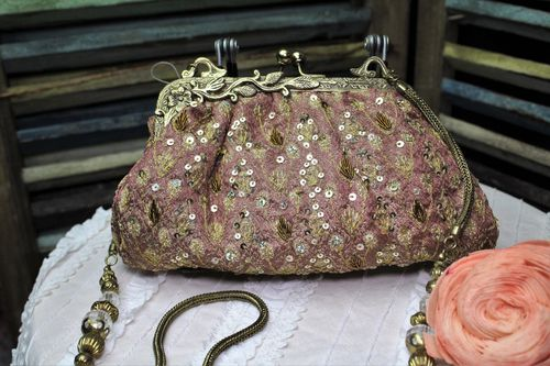 Designer Glam Bag Rose Fabric Purse Gold Embroidery and Sequins (Artisan Designer)