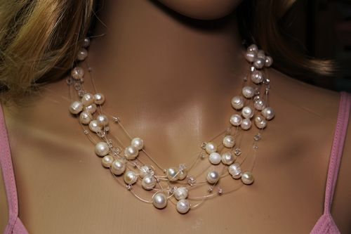Pearl Necklace Multi Strand Light and Airy Feminine Cluster Style Romantic Piece