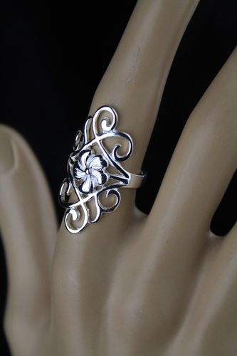 Long and Sleek Sterling Silver Ring with Fancy Scroll Filigree and Flower Center