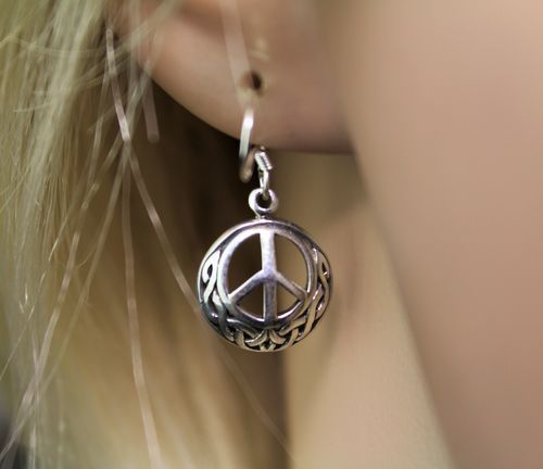 Sterling Silver Earrings Celtic Peace Sign Petite 3D Boho Hippie Love Theme
