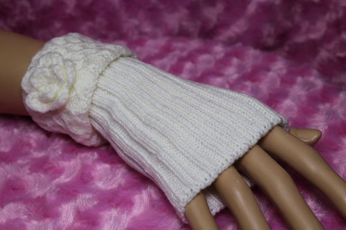 Fingerless Gloves Flower Accent on Honeycomb Knit Cuff Reversible Arm Warmers