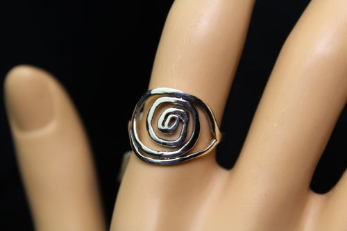 Whimsical Spiral Sterling Silver Ring Crooked and Primitive Swirl Design