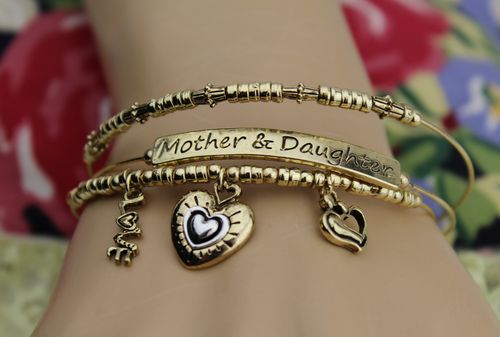 Mother and Daughter Bracelet Set with Heart and Love Charms for Mom on Mothers Day