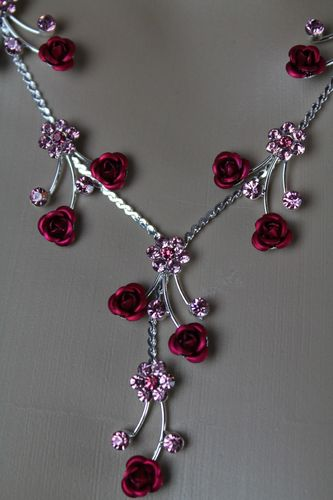 Rose Necklace and Earrings Silver W/ Crystal Rhinestones Elegant Jewelry Set (Pink, Red or Grey)