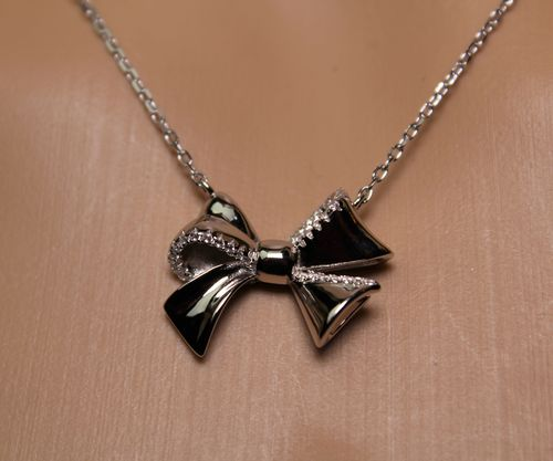 Sterling Silver Bow Necklace with CZ Stones Elegant Minimalist Fine Jewelry