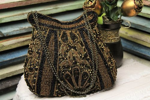 Designer Glam Bag Black Beaded Evening Bag Bronze Embroidery (Artisan Designer)