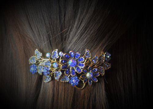 Blue Flower Hair Clip Barrette with Sparkling Blue and Aurora Borealis Crystals