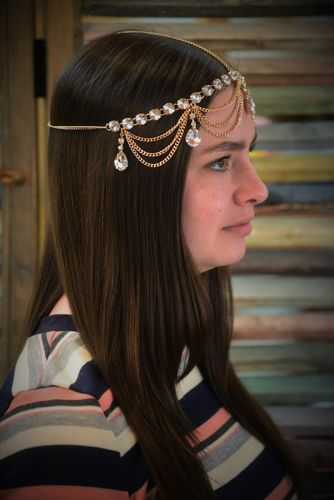 Gold and Rhinestone Head Chain Draping Gypsy Hair Accessory with Large Crystals