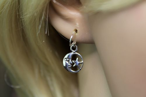 Sterling Silver Moon and Star Earrings Dainty Minimalist Celestial Theme