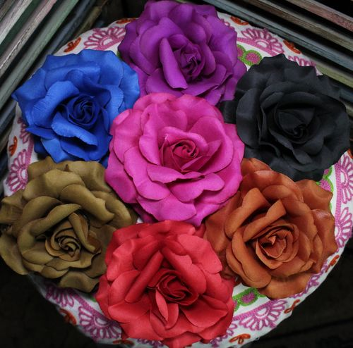 Silk Rose Hair Barrettes Large Flower Pincer Clips with Hair Tie Band (Choose Two)