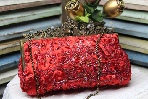 Designer Red Glam Bag Evening Bag Embroidery and Beaded Victorian Noly Fuentes