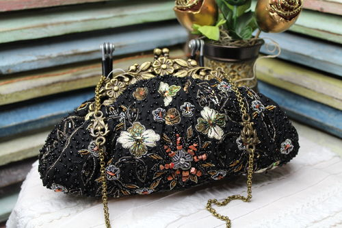 Designer Glam Bag Black Evening Bag Colorful Embroidery and Beads Noly Fuentes